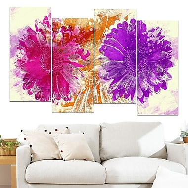 Pink and Purple Sunflowers Floral Metal Wall Art, 48x28, 4 Panels, (MT3401-2-271)