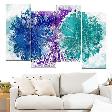 Art mural floral en métal, tournesols bleus et verts, 48 x 28 po, 4 panneaux (MT3401-3-271)