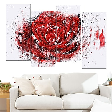 Red Rose Floral Metal Wall Art