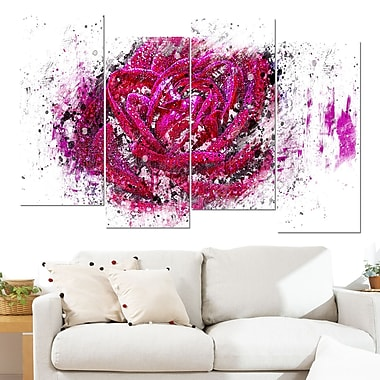 Pink Rose Floral Metal Wall Art, 48x28, 4 Panels, (MT3403-2-271)