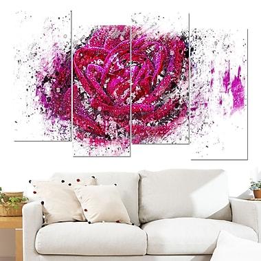 Art mural en métal de fleurs, rose, 48 x 28 po, 4 panneaux (MT3403-2-271)