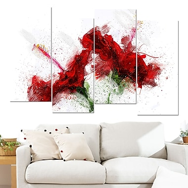 Red Lily Floral Metal Wall Art, 48x28, 4 Panels, (MT3405-271)