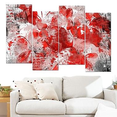 Art mural floral en métal, pétales de fleurs rouge-orange