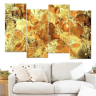 Orange Yellow Flower Petals Floral Metal Wall Art, 48x28, 4 Panels, (MT3406-2-271)