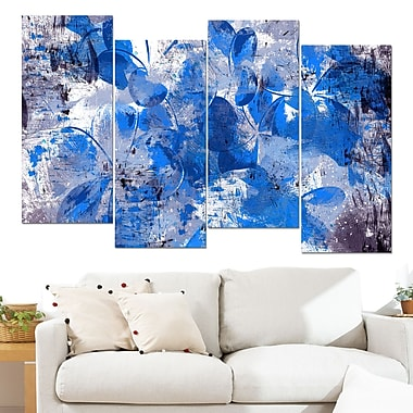 Blue Flower Petals Floral Metal Wall Art, 48x28, 4 Panels, (MT3406-3-271)