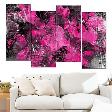 Art mural floral en métal, pétales de fleurs roses, 48 x 28 po, 4 panneaux (MT3406-4-271)