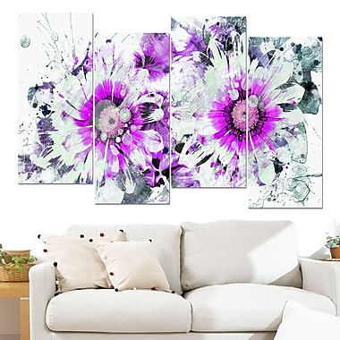 Purple and White Daisies Floral Metal Wall Art, 48x28, 4 Panels, (MT3407-2-271)