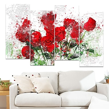 Bed of Roses Floral Metal Wall Art, 48x28, 4 Panels, (MT3408-271)