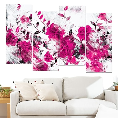 Pink Trail of Flowers Floral Metal Wall Art, 48x28, 4 Panels, (MT3409-1-271)