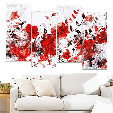 Red Orange Flower Trail Floral Metal Wall Art, 48x28, 4 Panels, (MT3409-2-271)