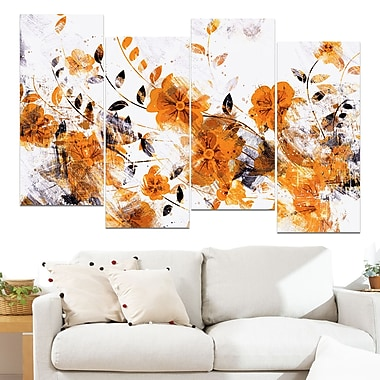 Dark Yellow Flower Trail Floral Metal Wall Art, 48x28, 4 Panels, (MT3409-3-271)