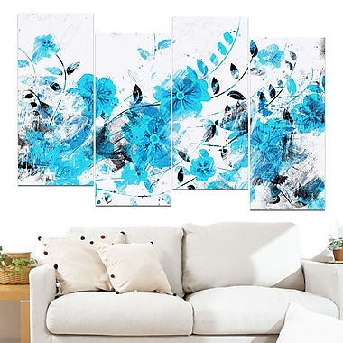 Light Blue Flower Trail Floral Metal Wall Art, 48x28, 4 Panels, (MT3409-4-271)