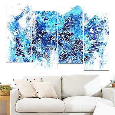 Electric Blue Flowers Floral Metal Wall Art, 48x28, 4 Panels, (MT3410-1-271)