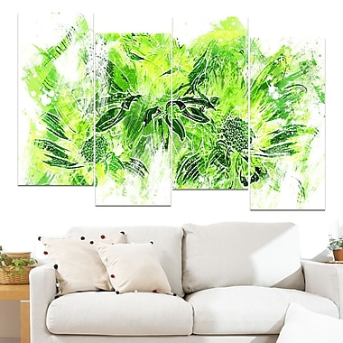 Electric Green Flowers Floral Metal Wall Art, 48x28, 4 Panels, (MT3410-2-271)