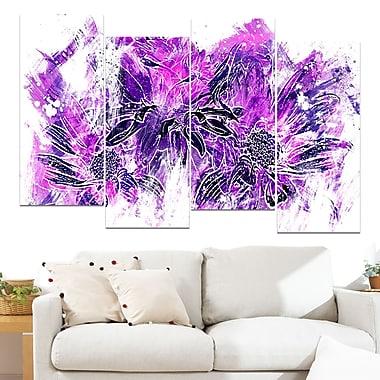 Art mural floral en métal, fleurs violet électrique, 48 x 28 po, 4 panneaux (MT3410-3-271)