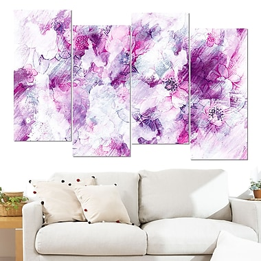 Pink Abstract Flowers Floral Metal Wall Art