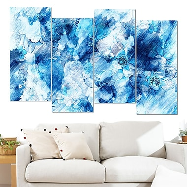 Blue Abstract Flowers Floral Metal Wall Art, 48x28, 4 Panels, (MT3411-2-271)