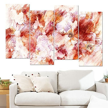 Orange Abstract Flowers Floral Metal Wall Art, 48x28, 4 Panels, (MT3411-3-271)