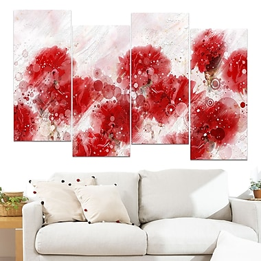 Red Dandelions Floral Metal Wall Art