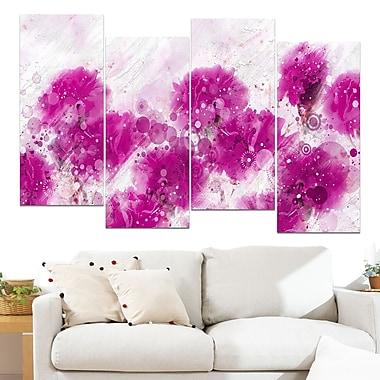 Pink Dandelions Floral Metal Wall Art, 48x28, 4 Panels, (MT3412-2-271)