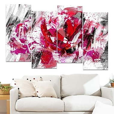 Red Rose Floral Metal Wall Art, 48x28, 4 Panels, (MT3413-271)