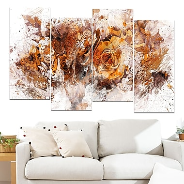 Light Brown Flowers Floral Metal Wall Art, 48x28, 4 Panels, (MT3414-1-271)
