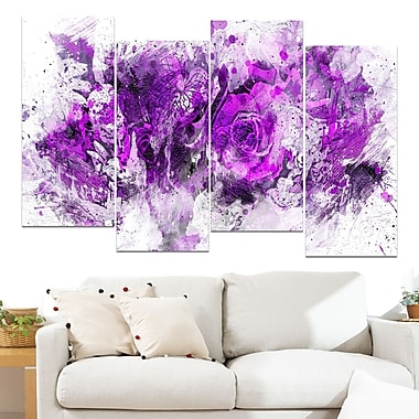 Royal Purple Flowers Floral Metal Wall Art, 48x28, 4 Panels, (MT3414-2-271)