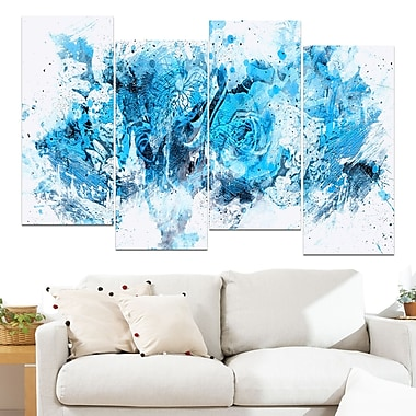 Blue Purple Flowers Floral Metal Wall Art, 48x28, 4 Panels, (MT3414-3-271)