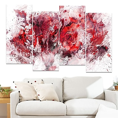 Red Purple Flowers Floral Metal Wall Art, 48x28, 4 Panels, (MT3414-4-271)