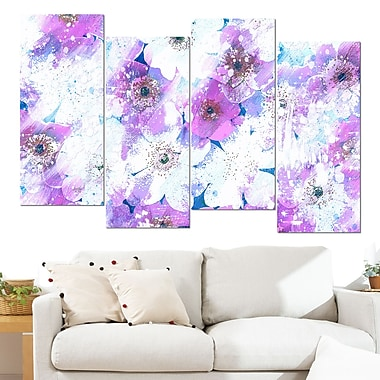 Lavender Flower Bed Floral Metal Wall Art, 48x28, 4 Panels, (MT3415-1-271)