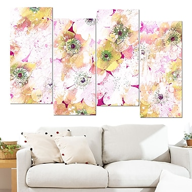 Pink and Yellow Flower Bed Floral Metal Wall Art, 48x28, 4 Panels, (MT3415-2-271)