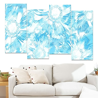 Blue Flowers Floral Metal Wall Art, 48x28, 4 Panels, (MT3417-2-271)