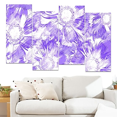Purple Flowers Floral Metal Wall Art, 48x28, 4 Panels, (MT3417-3-271)