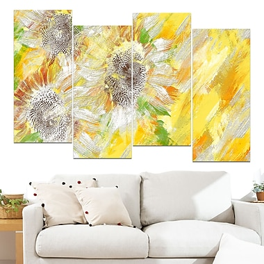 Yellow and Green Flower Art, Floral Metal Wall Art, 48x28, 4 Panels, (MT3418-271)
