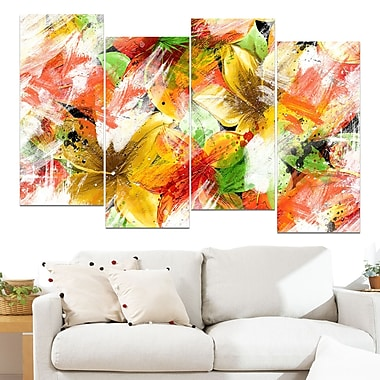 Multicolour Floral Metal Wall Art, 48x28, 4 Panels, (MT3419-271)