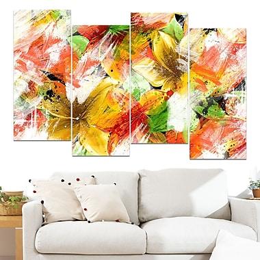Art mural floral en métal, fleurs multicolores, 48 x 28 po, 4 panneaux (MT3419-271)