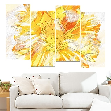 Yellow Flower Floral Metal Wall Art, 48x28, 4 Panels, (MT3420-2-271)