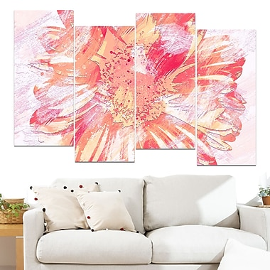 GrapeFruit Colour Flower Floral Metal Wall Art, 48x28, 4 Panels, (MT3420-3-271)