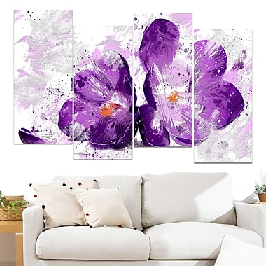 Blooming Purple Flower Floral Metal Wall Art, 48x28, 4 Panels, (MT3421-271)