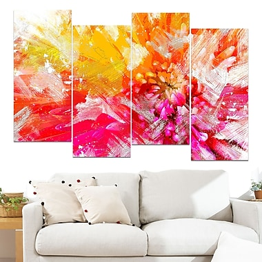 Vibrant Colours Flower Art, Floral Metal Wall Art, 48x28, 4 Panels, (MT3422-2-271)