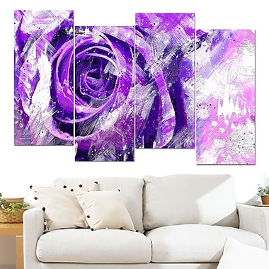Purple Rose Floral Metal Wall Art, 48x28, 4 Panels, (MT3423-1-271)