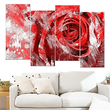 Red Rose Floral Metal Wall Art, 48x28, 4 Panels, (MT3423-2-271)
