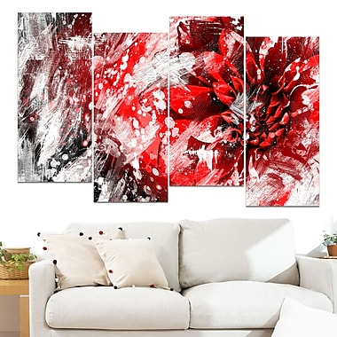 Modern Red and White Floral Art, art mural floral en métal, 48 x 28, 4 panneaux, (MT3424-1-271)