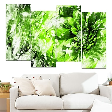 Modern Green and White Floral Art, Floral Metal Wall Art, 48x28, 4 Panels, (MT3424-2-271)