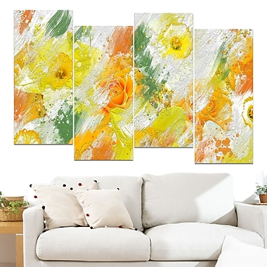 Abstract Daisies Floral Metal Wall Art, 48x28, 4 Panels, (MT3425-271)