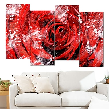 Center of the Rose Floral Metal Wall Art, 48x28, 4 Panels, (MT3427-1-271)