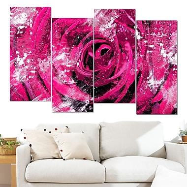 Art mural en métal de fleurs, cœur d'une rose rose, 48 x 28 po, 4 panneaux, (MT3427-2-271)