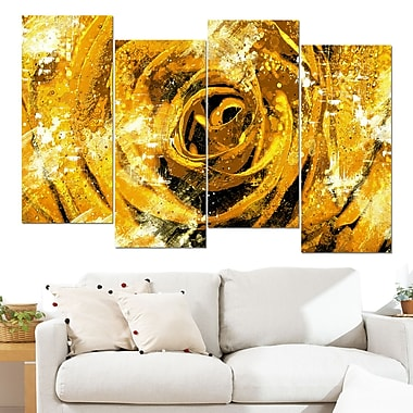 Center of the Yellow Rose Floral Metal Wall Art, 48x28, 4 Panels, (MT3427-3-271)