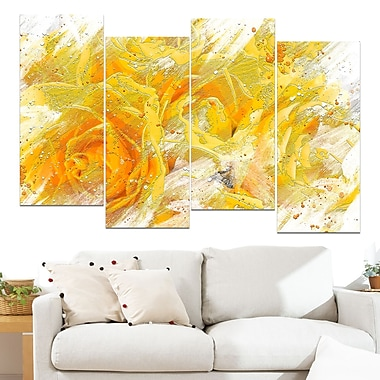 Yellow Tulips Floral Metal Wall Art, 48x28, 4 Panels, (MT3429-271)