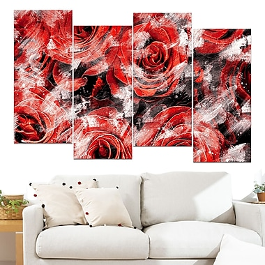 Red Rose Garden Floral Metal Wall Art, 48x28, 4 Panels, (MT3430-1-271)